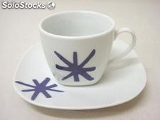 Taza y plato cafe 100ML asterisco AZ