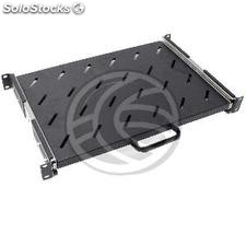 Telescopic tray 1U rack background with front and 300mm rear mounting