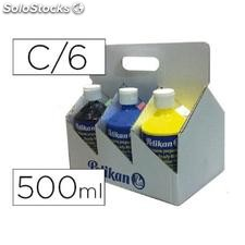 ✅ tempera pelikan escolar 500 ml especial colegio pack 6 botellas colores