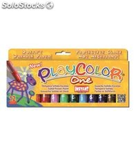Tempera solida 12 und 10grs colores surtidos basic one playcolor 10731