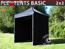 Tenda Dobrável FleXtents Basic, 2x2m Preto, incl. 4 paredes laterais