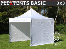 Tenda Dobrável FleXtents Basic, 3x3m Branco, incl. 4 paredes laterais