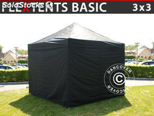 Tenda Dobrável FleXtents Basic, 3x3m Preto, incl. 4 paredes laterais