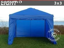 Tenda dobrável FleXtents Light, 3x3m, incl. 4 paredes laterais, Azul