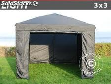 Tenda dobrável FleXtents Light, 3x3m, incl. 4 paredes laterais, Cinzento
