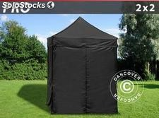 Tenda Dobrável FleXtents PRO 2x2m Preto, incl. 4 paredes laterais