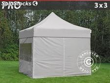 Tenda Dobrável FleXtents PRO 3x3m Latte, incl. 4 paredes laterais