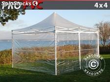 Tenda Dobrável FleXtents pro 4x4m, incl. 4 paredes laterais, Transparente