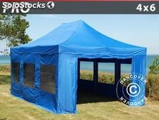 Tenda Dobrável FleXtents PRO 4x6m Azul, incl. 8 paredes laterais