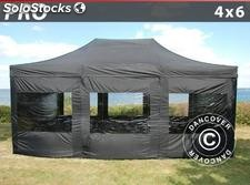 Tenda Dobrável FleXtents PRO 4x6m Preto, incl. 8 paredes laterais