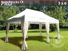 "Tenda Dobrável FleXtents PRO ""Wave"" 3x6m Branco, incl. 6 cortinas decorativas"