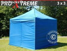 Tenda Dobrável FleXtents Xtreme 3x3m Azul, incl. 4 paredes laterais
