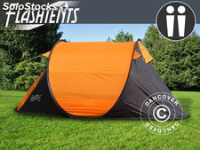 Tente de camping pop-up, FlashTents®, 2 personnes, Orange/Gris foncé