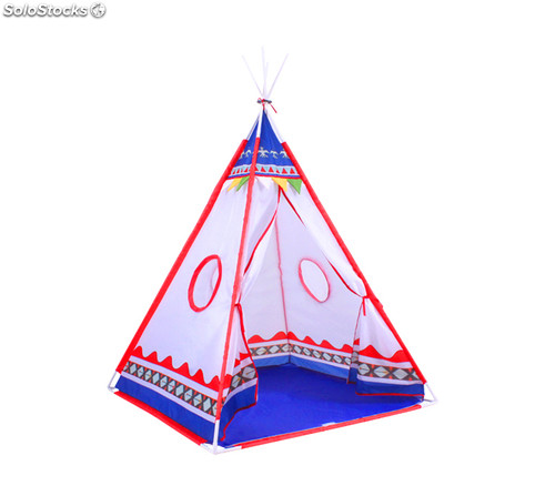 tente tipi d 39 indien pour enfants rouge et bleu. Black Bedroom Furniture Sets. Home Design Ideas