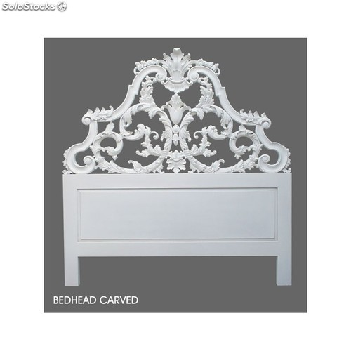 t te de lit baroque 160 cm en bois blanc sculpt e. Black Bedroom Furniture Sets. Home Design Ideas