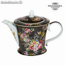 Tetera porcelana bloom black - Colección Kitchen's Deco by Bravissima Kitchen