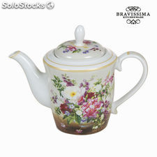 Tetera porcelana bouquet natur - Colección Kitchen's Deco by Bravissima Kitchen