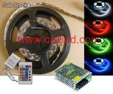 Tiras de led 5050 rgb color, ip33, with remote controller and driver