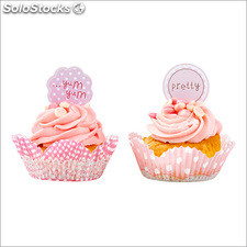 Toppers ( 25 ) y 50 moldes para cupcakes pink mix talking tables