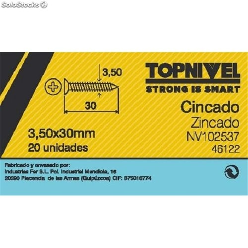 Tornillo R/Mad. 03,5X030Mm Cinc Nivel 20 Pz