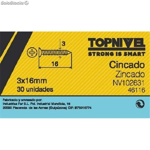 Tornillo R/Mad. 03X016Mm Cinc Nivel 30 Pz