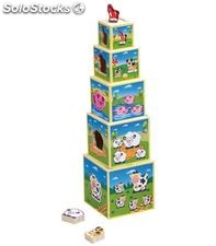Torre cubos apilables madera animales smart