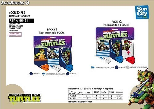 Tortugas ninja calcetines pack 3 unidades