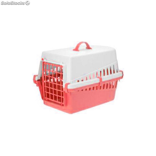 Transportín de plástico para mascotas rojo - pets collection - 8711295235801 -