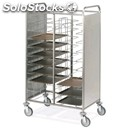 Tray trolley - mod. univ2inox - square tubular stainless steel structure cm. 2x2