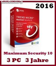 Trend Micro Maximum Security 10 2016 3 PC 3 Jahre