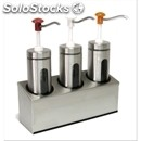 Triple cylindrical sauce dispenser - mod. dis d3 - stainless steel aisi 304 -