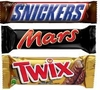 chocolate mars, twix, snickers.