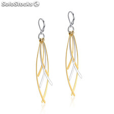 Two tone leaf shape designer inspired stainless steel dangle earrings