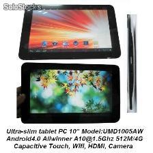 ultra-delgado mid tablet pc android4.0 a10 1.5Ghz 512m 4g wifi hdmi capacitiva