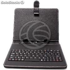 """Universal Leather Portfolio Case with Keyboard for tablet 8 \"""" (KP75)"""