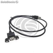 USB 2.0 cable with panel mount connector USB A male to USB A female 50cm (UB25)