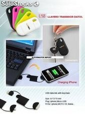 Usb Cargador y Transmisor de Datos LLavero IPhone , iPod,iPad..Logo