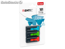 Usb FlashDrive 16GB emtec C450 Slide 2.0 (3-pack)
