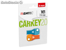 Usb FlashDrive 16GB emtec CarKey D300 (Blue/Orange) 2-pack