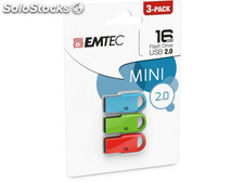 Usb FlashDrive 16GB emtec D250 Mini (3pcs pack)