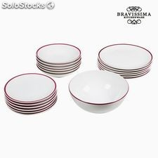 Vajilla (19 pcs) Blanco Burdeos - Colección Kitchen's Deco by Bravissima...