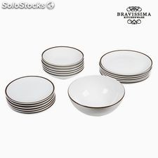 Vajilla (19 pcs) Loza Blanco Marrón - Colección Kitchen's Deco by Bravissima