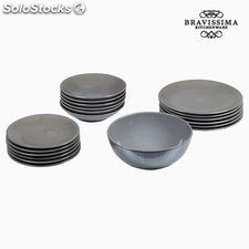 Vajilla (19 pcs) Loza Gris - Colección Kitchen's Deco by Bravissima Kitchen
