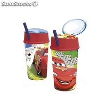 Vaso Cars Disney Doble Uso Con Pajita 400Ml.