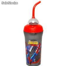 Vaso Sorbete con Pajita Spiderman (300 ml)