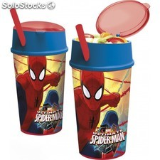 Vaso Spiderman Doble Uso Con Pajita 400Ml.