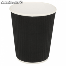 Vasos bebidas calientes 240 ml doble pared ondulado negro cartoncillo (1 mil )