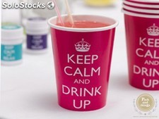 Vasos Keep Calm and Drink Up · Pack 8 Uds