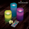 Velas LED EmotiCandle (pack de 3) multicolor, 12 tonos, con mando y temporizador