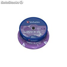 Verbatim - DVD+r Double Layer 8x Matt Silver 25pk Spindle 8.5GB DVD+r dl